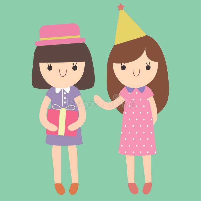 Beeldverhaal leuke meisjes die naar partij gaan royalty-vrije illustratie