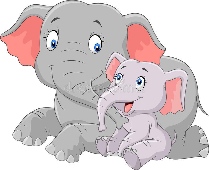 Beeldverhaal leuke Moeder en babyolifant vector illustratie