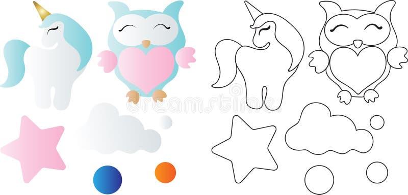 Beeldverhaal leuke stuk speelgoed uil, eenhoorn, wolk en ster stock illustratie