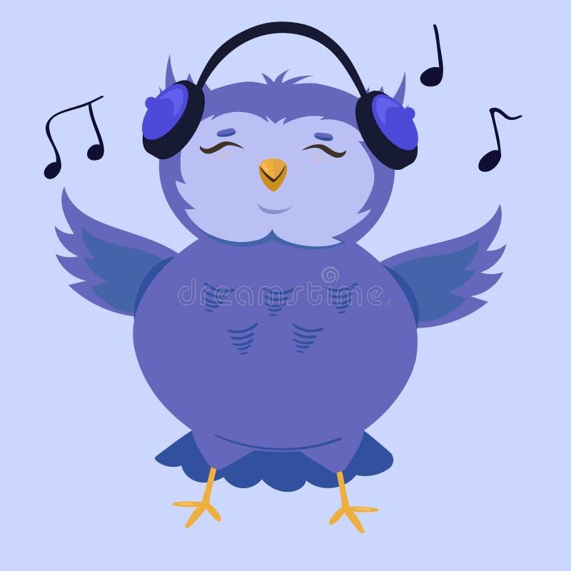 Beeldverhaal leuke uil die aan muziek luisteren Vector illustratie stock illustratie
