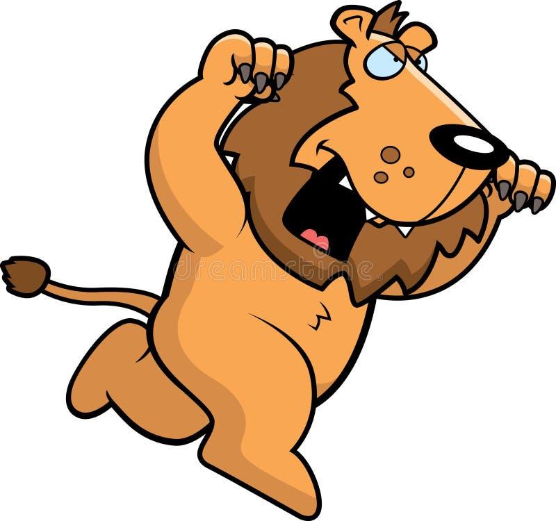 Beeldverhaal Lion Attacking royalty-vrije illustratie