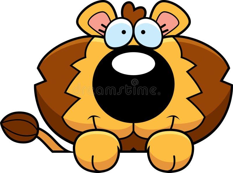 Beeldverhaal Lion Cub Peeking royalty-vrije illustratie