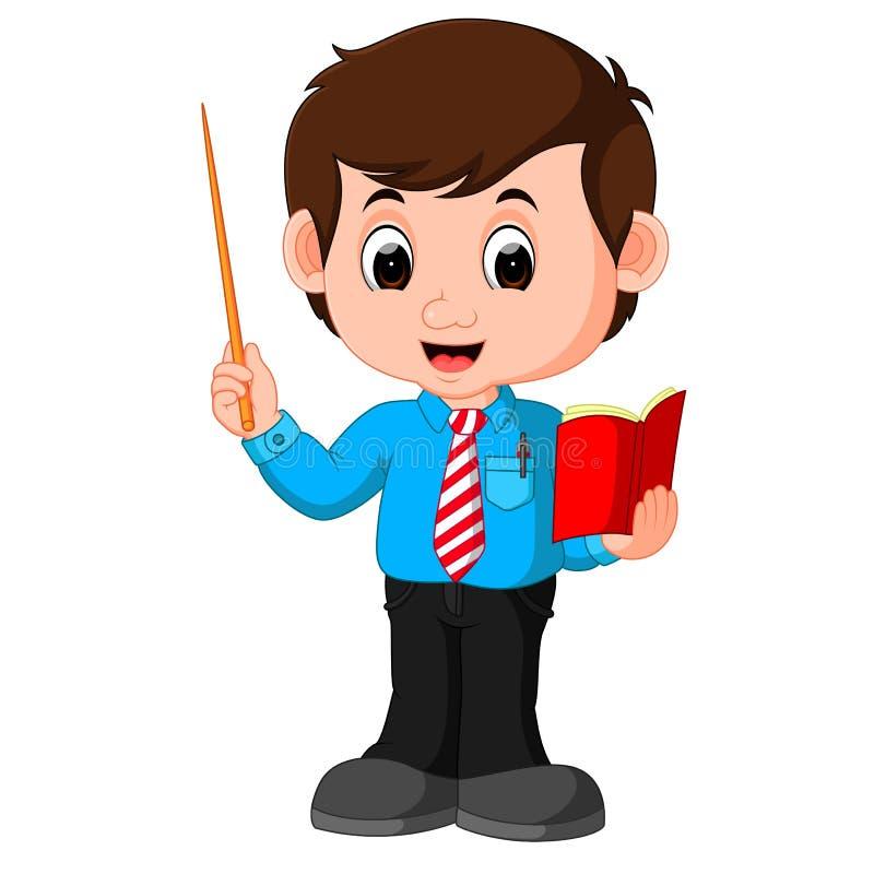 Beeldverhaal mannelijke leraar stock illustratie