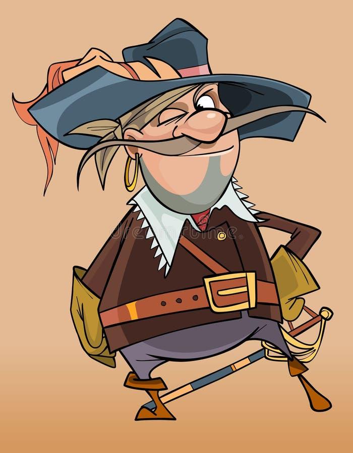 Beeldverhaal mannelijke piraat in de kleren van een musketier stock illustratie