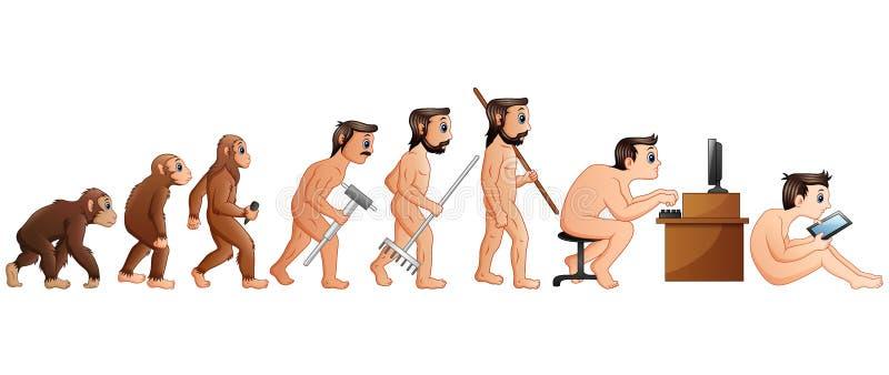 Beeldverhaal Menselijke Evolutie en Technologie stock illustratie