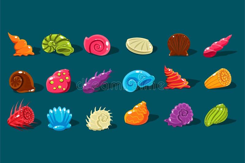 Beeldverhaal met glanzende overzeese shells van verschillende vormen en soorten wordt geplaatst die De kleurrijke voorwerpen van  royalty-vrije illustratie