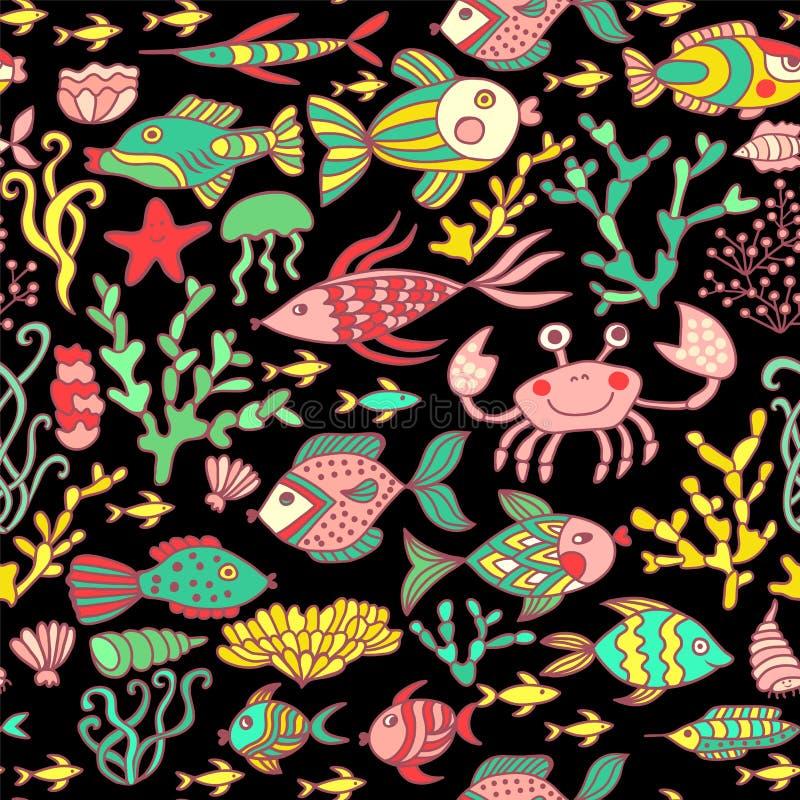Beeldverhaal met overzeese levende, vectorreeks wordt geplaatst die Kleurrijke overzeese dieren, overzees wereld naadloos patroon stock illustratie