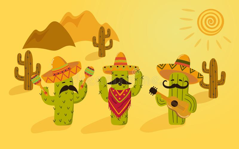 Beeldverhaal Mexicaanse Cactus Dit is dossier van EPS10-formaat Cinco DE Mayo vector illustratie
