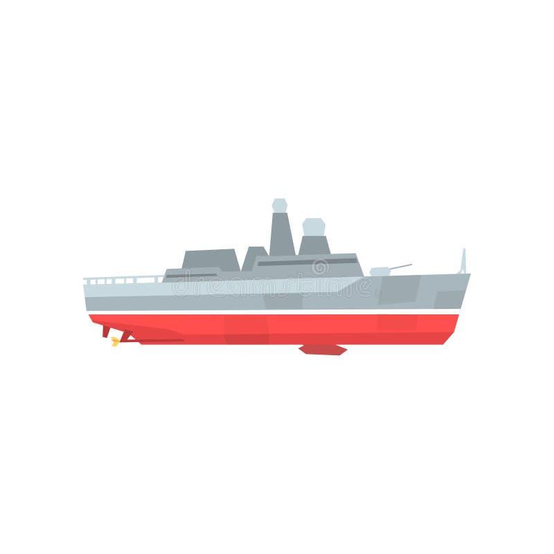 Beeldverhaal militaire tanker Marineoorlogsschip met radar en kanon Gekleurd bootpictogram Vlak vectorontwerp Grafisch element vo royalty-vrije illustratie