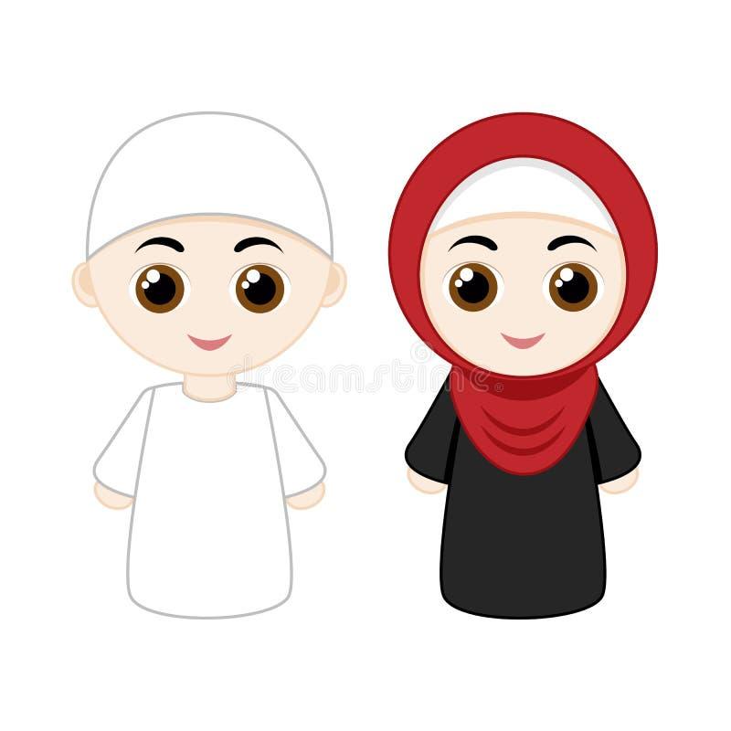 Beeldverhaal moslimpaar stock illustratie