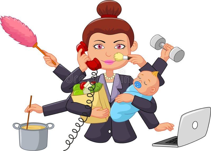 Beeldverhaal multitasking huisvrouw stock illustratie