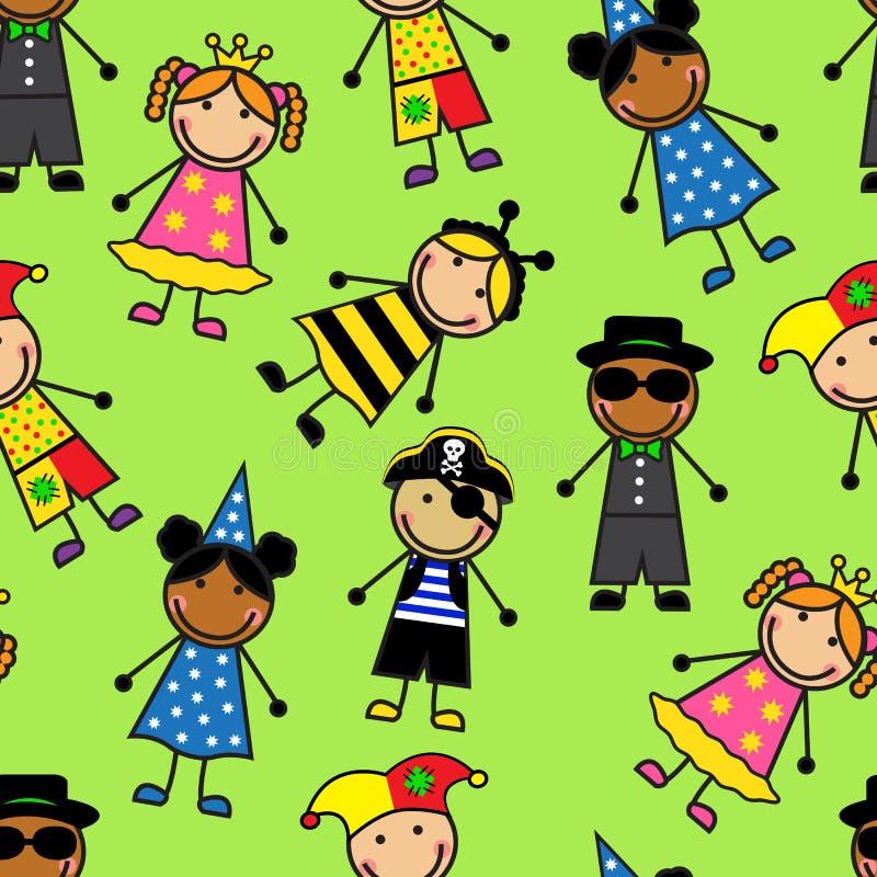Beeldverhaal naadloos patroon met kinderen in Carnaval-kostuums stock illustratie