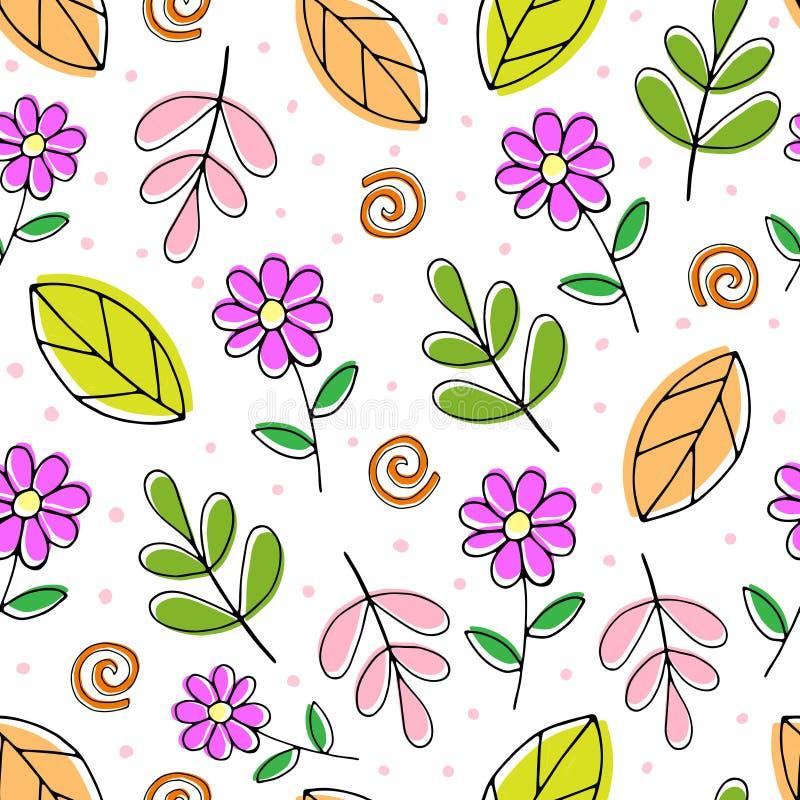 Beeldverhaal naadloos vector gekleurd patroon met leuke bloemen en twijgen stock illustratie