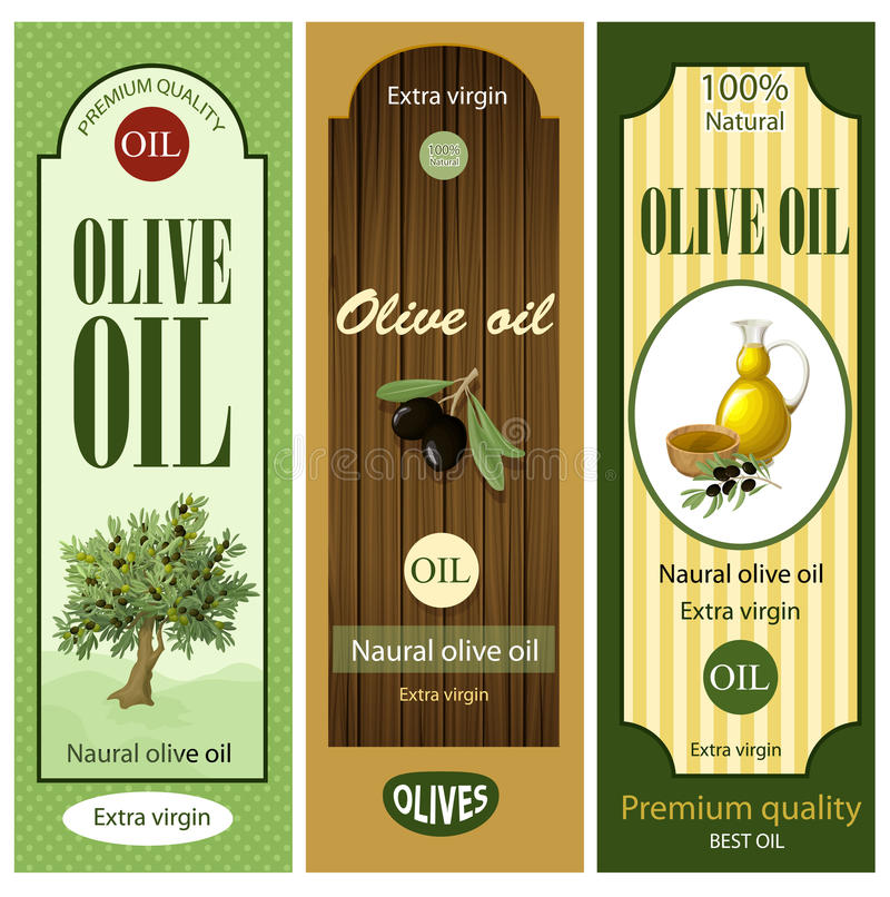 Beeldverhaal Olive Oil Labels Set stock illustratie