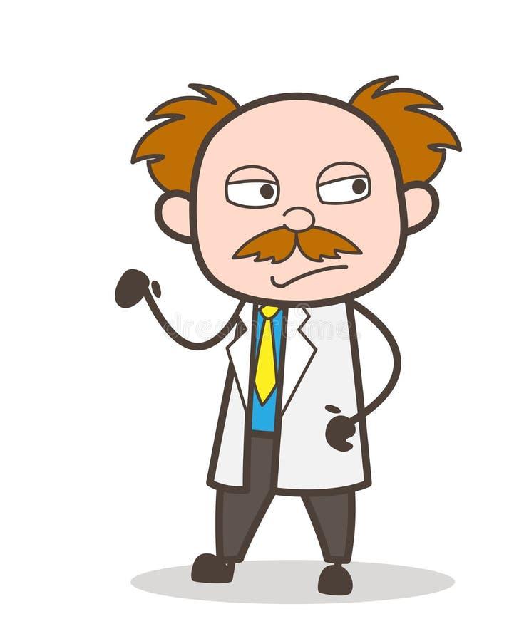 Beeldverhaal Ongelukkige Wetenschapper Gesture Vector Illustration royalty-vrije illustratie
