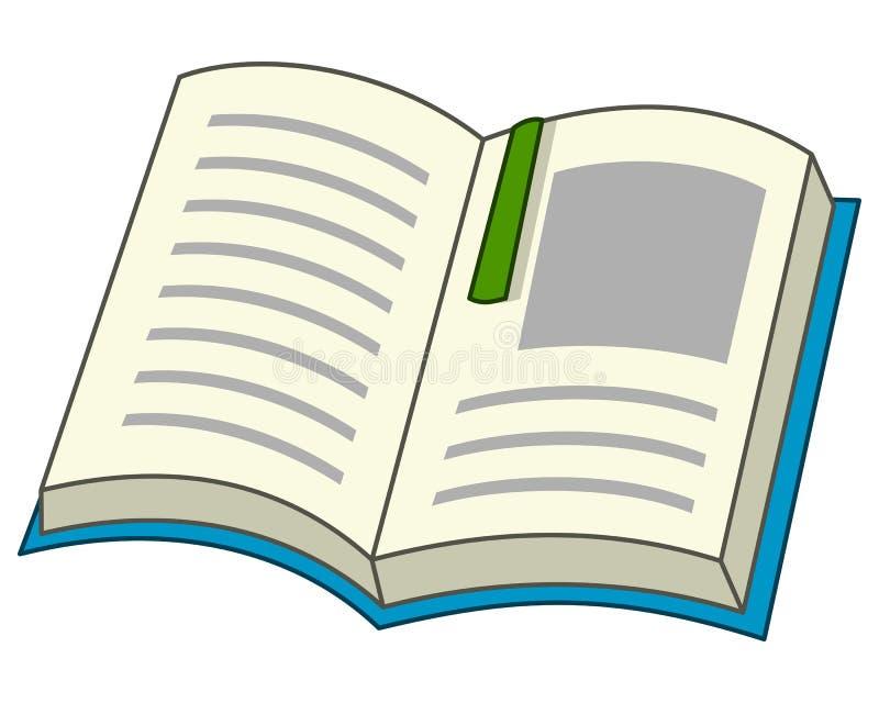 Beeldverhaal Open Boek met Referentiepictogram vector illustratie