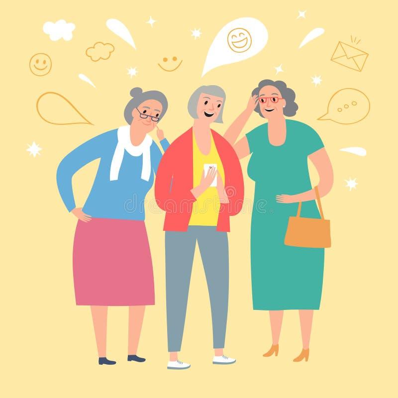 Beeldverhaal oude dames die op de telefoon kijken vector illustratie
