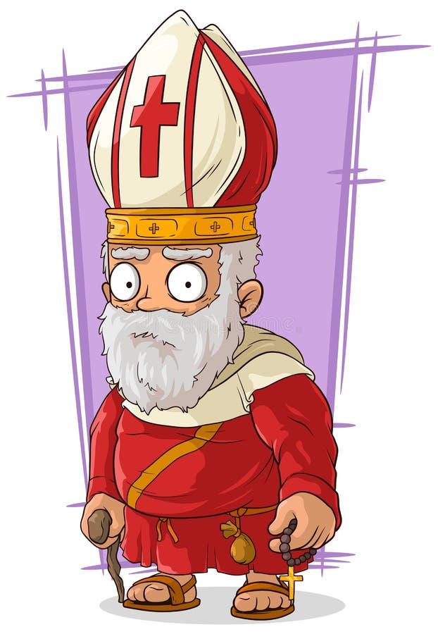 Beeldverhaal oude Katholieke priester met rozentuin stock illustratie