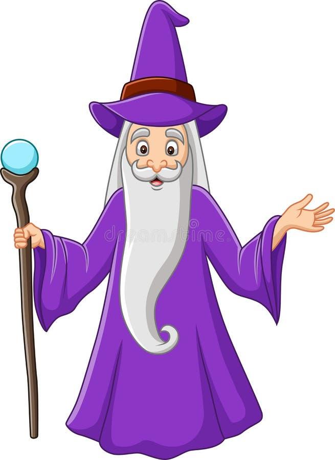 Beeldverhaal oude tovenaar die magische stok houden royalty-vrije illustratie