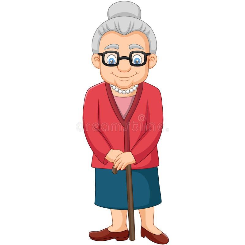 Beeldverhaal Oude vrouw met een riet royalty-vrije illustratie