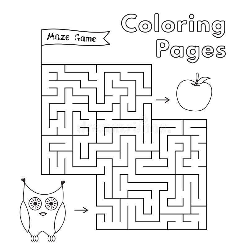 Beeldverhaal Owl Maze Game vector illustratie