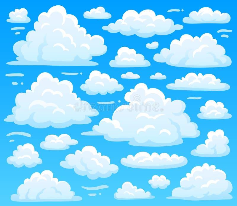 Beeldverhaal pluizige wolk bij azuurblauwe skyscape Hemelse wolken op blauwe hemel, atmosferische cloudscape vectorillustratie stock illustratie