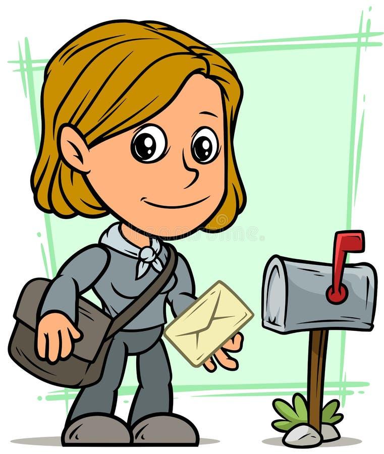 Beeldverhaal postgirl karakter met brief en brievenbus royalty-vrije illustratie