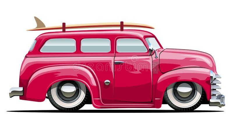 Beeldverhaal retro bestelwagen royalty-vrije illustratie