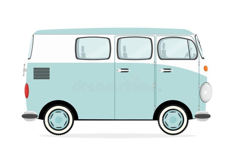 Beeldverhaal retro bestelwagen vector illustratie
