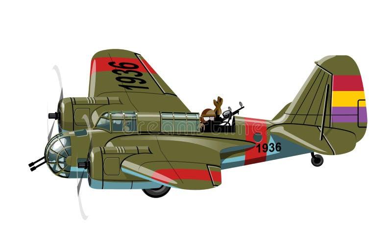 Beeldverhaal retro bommenwerper stock illustratie