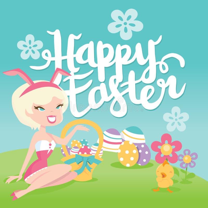 Beeldverhaal Retro Gelukkige Pasen Bunny Pinup Girl Garden Greeting vector illustratie