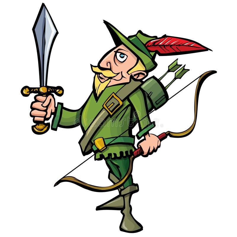 Beeldverhaal Robin Hood met een zwaard vector illustratie