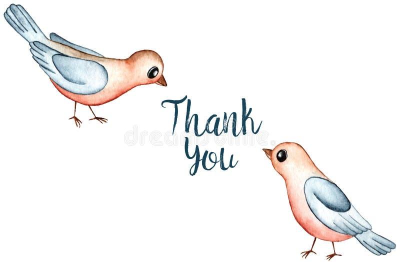 Beeldverhaal Robin Redbreast Birds Watercolor Illustration op Witte Achtergrond wordt geïsoleerd die Dank u kaarden stock illustratie