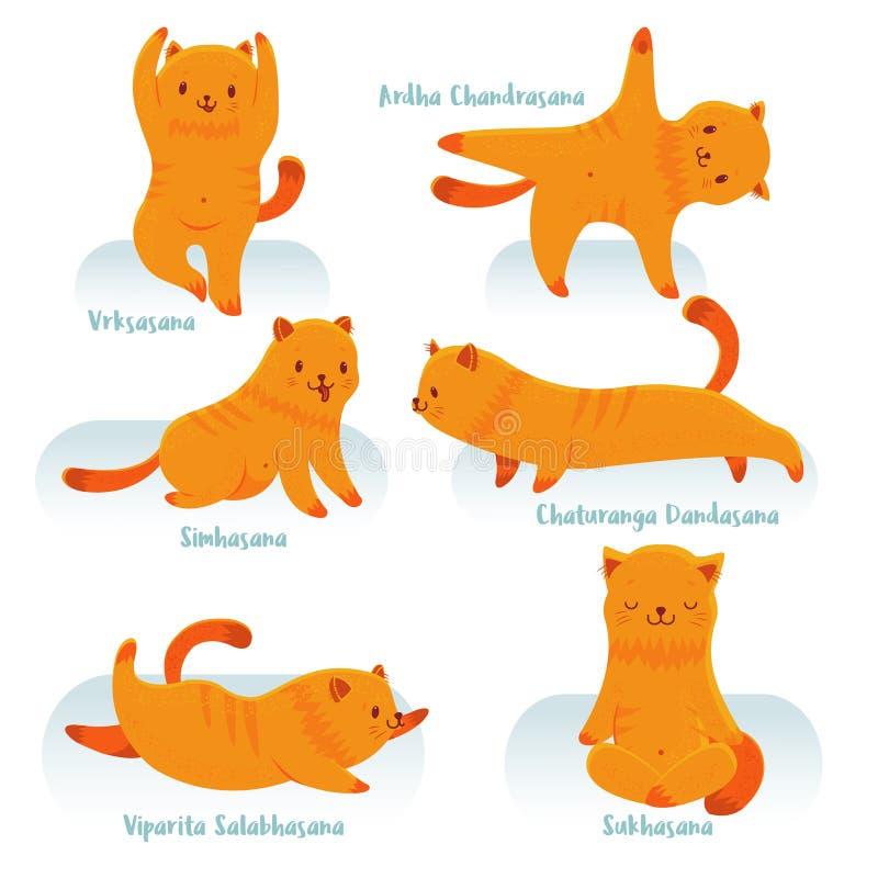 Beeldverhaal rode kat het praktizeren yoga vector illustratie