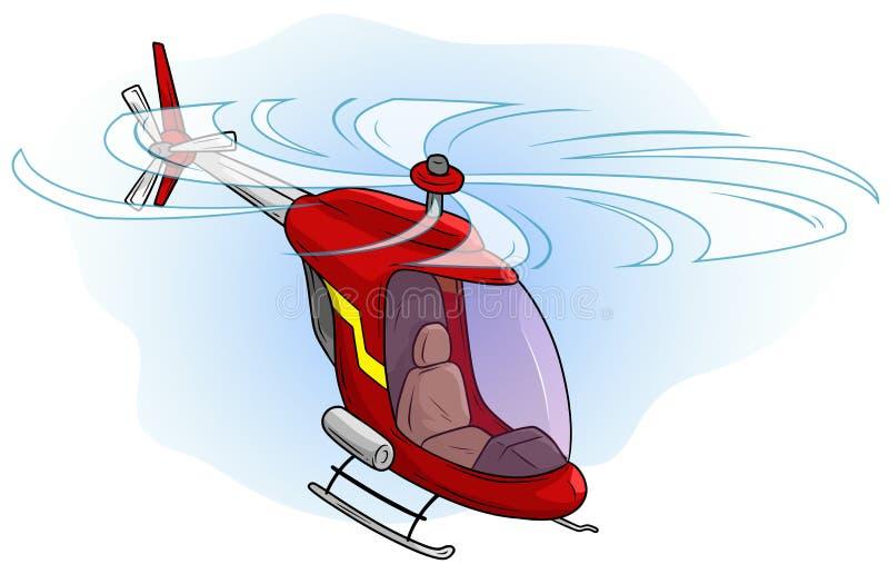 Beeldverhaal rode leuke helikopter die in de hemel vliegen stock illustratie