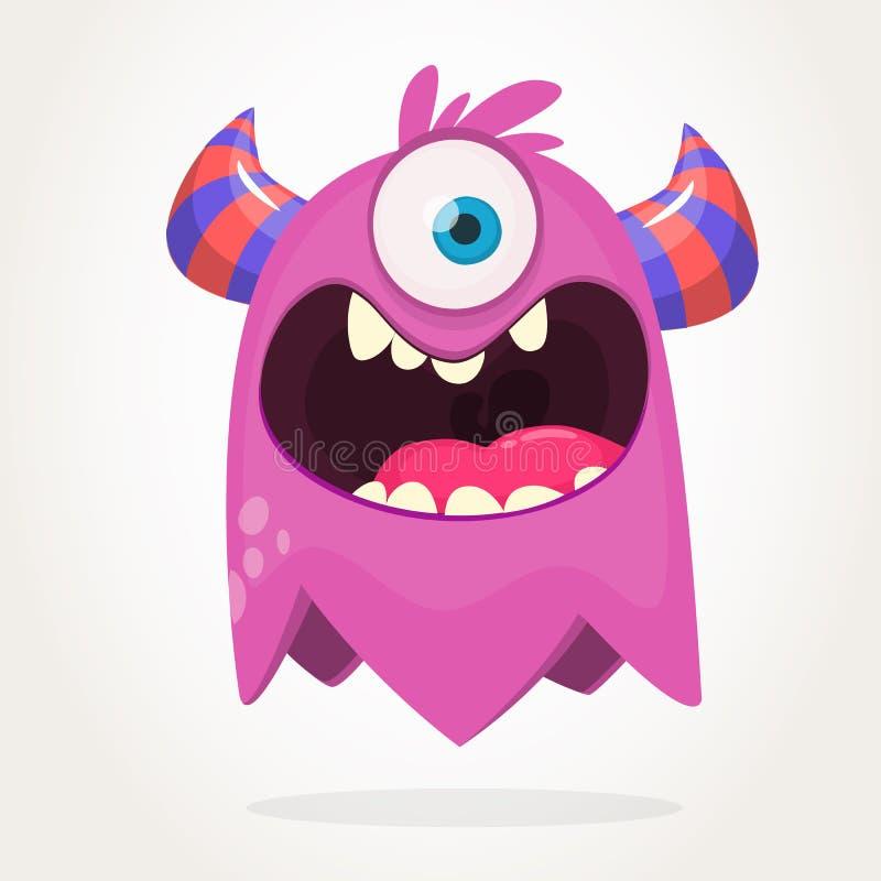 Beeldverhaal roze eyed monster De vectorillustratie van Halloween van opgewekt monster stock illustratie