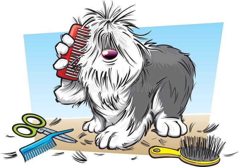 Beeldverhaal ruwharige hond royalty-vrije illustratie