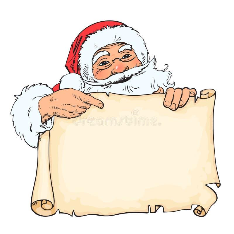 Beeldverhaal Santa Claus die aan lege, lege rol met plaats voor tekst richten Uitstekende Kerstman die van achter oud document pi royalty-vrije illustratie