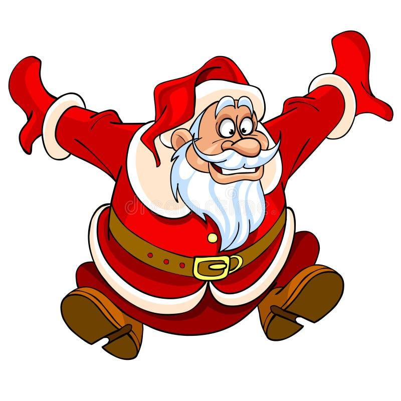 Beeldverhaal Santa Claus die met vreugde springen vector illustratie