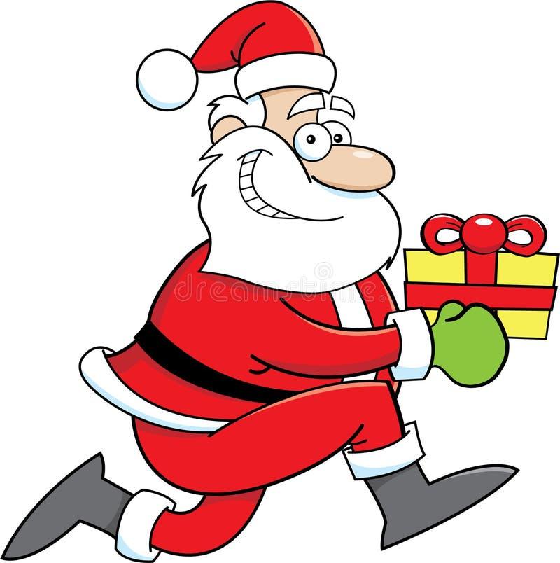 Beeldverhaal Santa Claus met een gift royalty-vrije illustratie