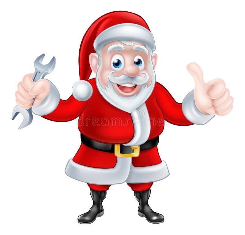 Beeldverhaal Santa Giving Thumbs Up en Holdingsmoersleutel royalty-vrije illustratie