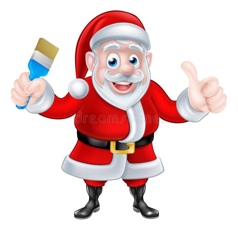 Beeldverhaal Santa Giving Thumbs Up en Holdingspenseel vector illustratie