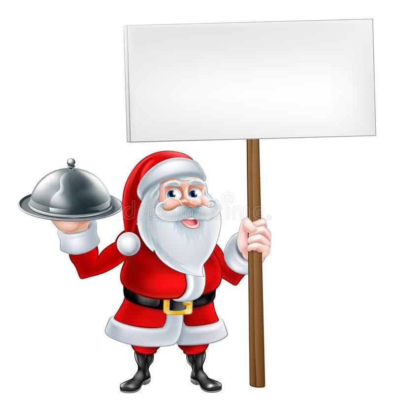 Beeldverhaal Santa Holding Platter Sign stock illustratie