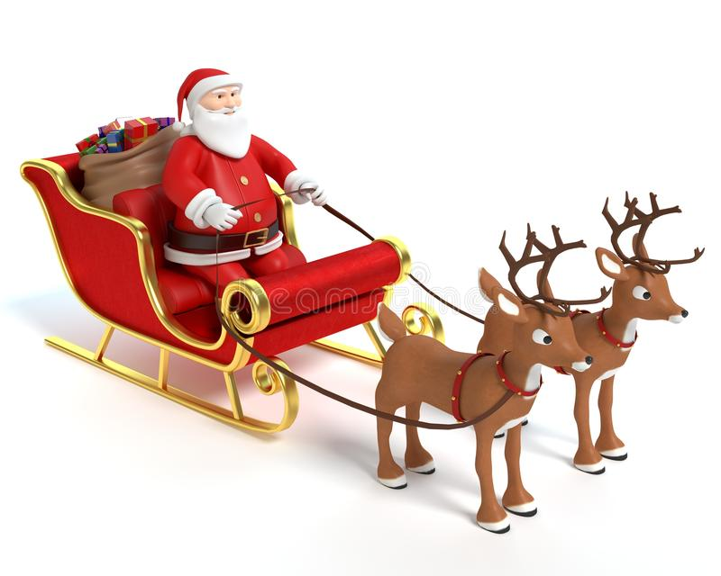 Beeldverhaal Santa Sleigh en Rendier stock illustratie