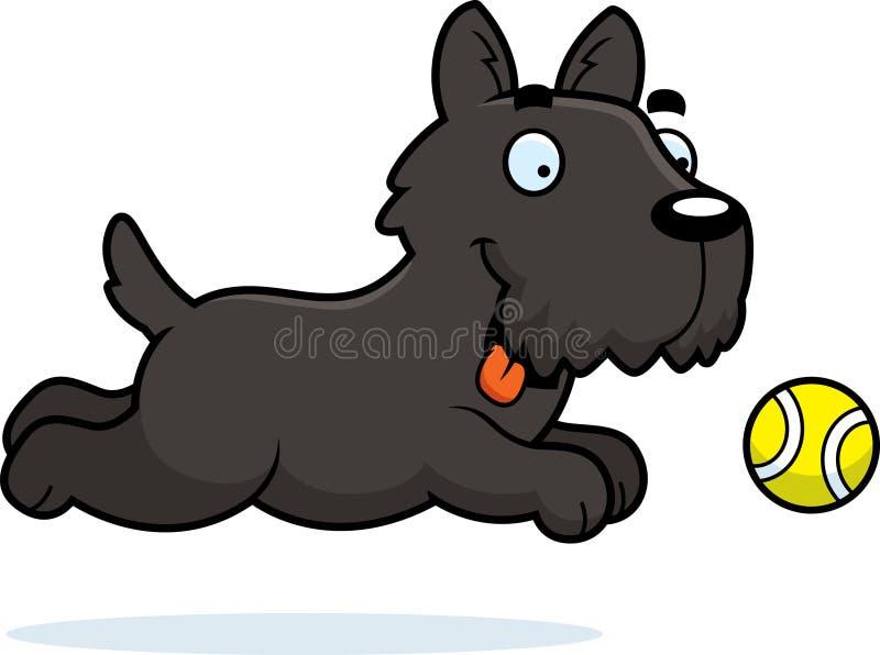 Beeldverhaal Scottie Chasing Ball vector illustratie
