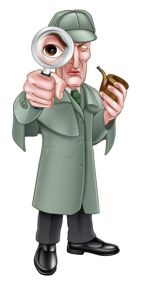 Beeldverhaal Sherlock Holmes Detective vector illustratie