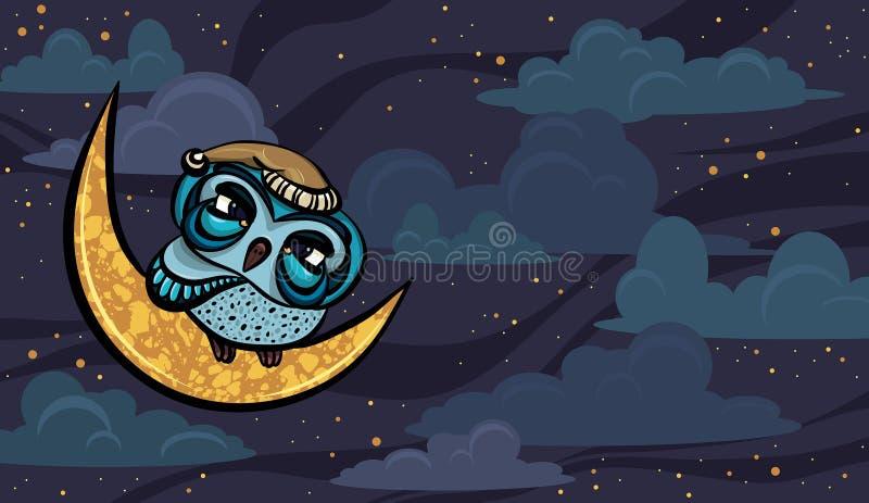 Beeldverhaal slaperige uil en gele maan stock illustratie