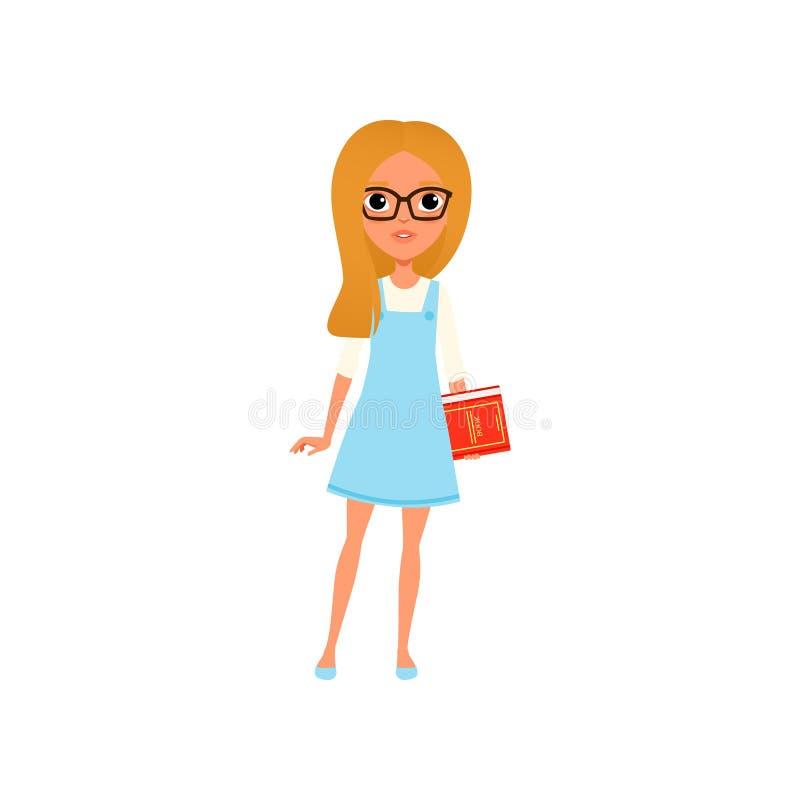 Beeldverhaal slim meisje in glazen met in hand boek Tiener met blond haar die witte blouse en blauwe kleding dragen Kind met royalty-vrije illustratie