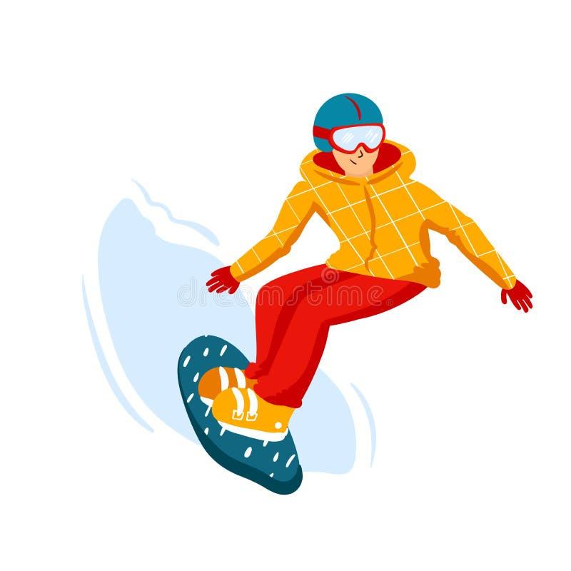 Beeldverhaal snowboard ruiters, mensen De sportenactiviteit van de de winterberg, de vakantie van de skitoevlucht Vectorillustrat royalty-vrije illustratie
