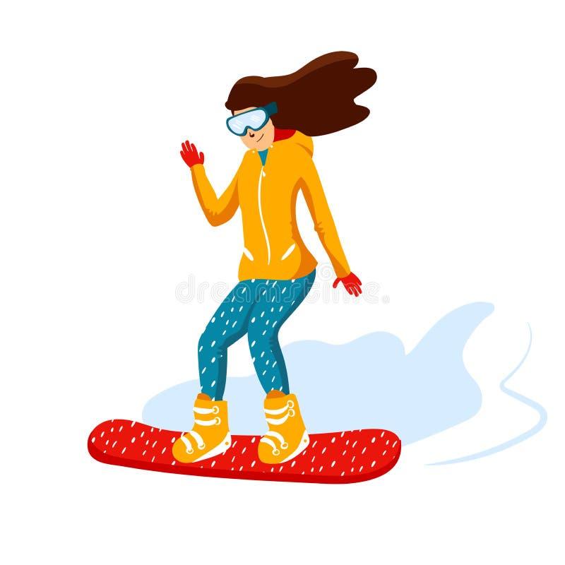 Beeldverhaal snowboard ruiters, wijfje De sportenactiviteit van de de winterberg, de vakantie van de skitoevlucht Vectorillustrat stock illustratie